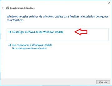 descargar los archivos desde Windows update para finalizar instalacion