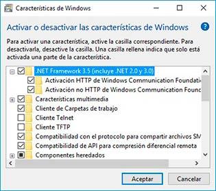 Habilitar .NET Framework 3.5 desde panel de control