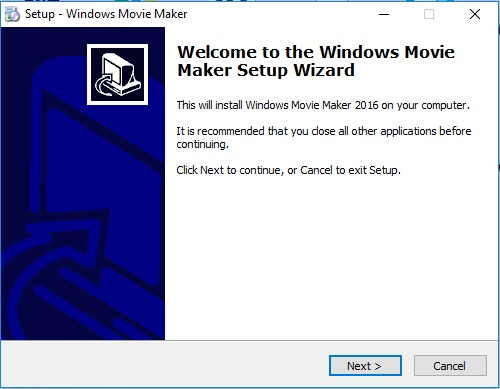bienvenidos instalar windows movie maker next