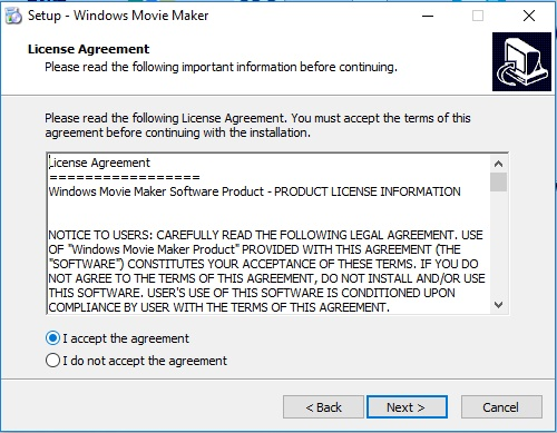 aceptar terminos y condiciones al instalar windows movie maker