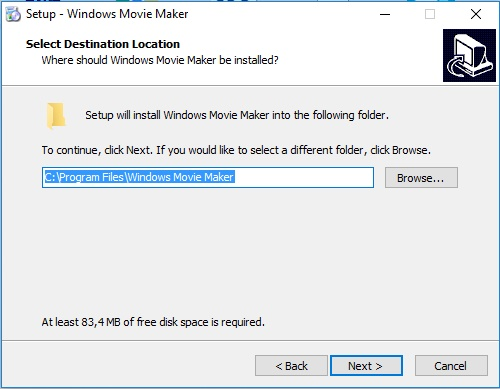 donde queremos guardar la informacion para instalar windows movie maker