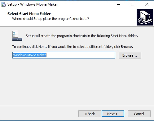 creamos el nombre de la carpeta para instalar windows movie maker