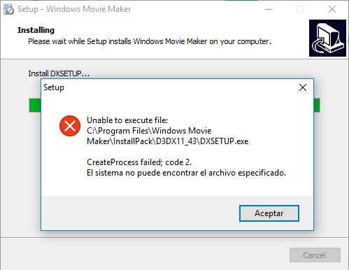 error de instalacion movie maker codigo